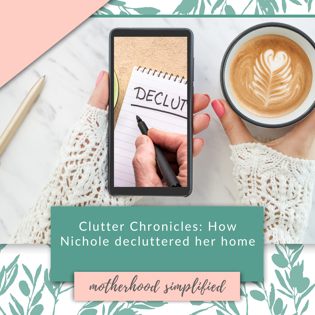 Get decluttering inspiration from Nicole! You can also get the decluttering guide she used to declutter your home too!