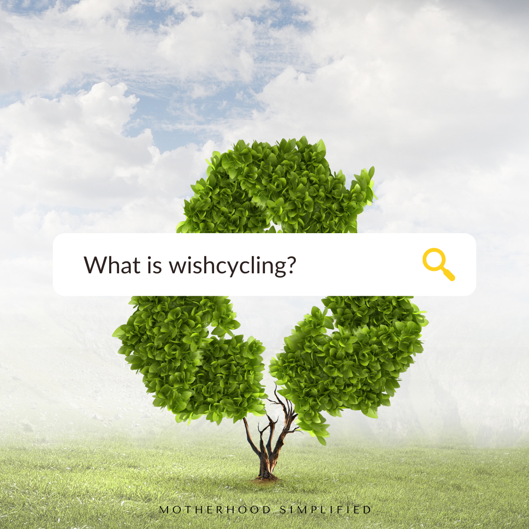 """A photo of a tree with a recycling traingular logo. A faux google search bar has """"what is wishcycling"""" written into it."""