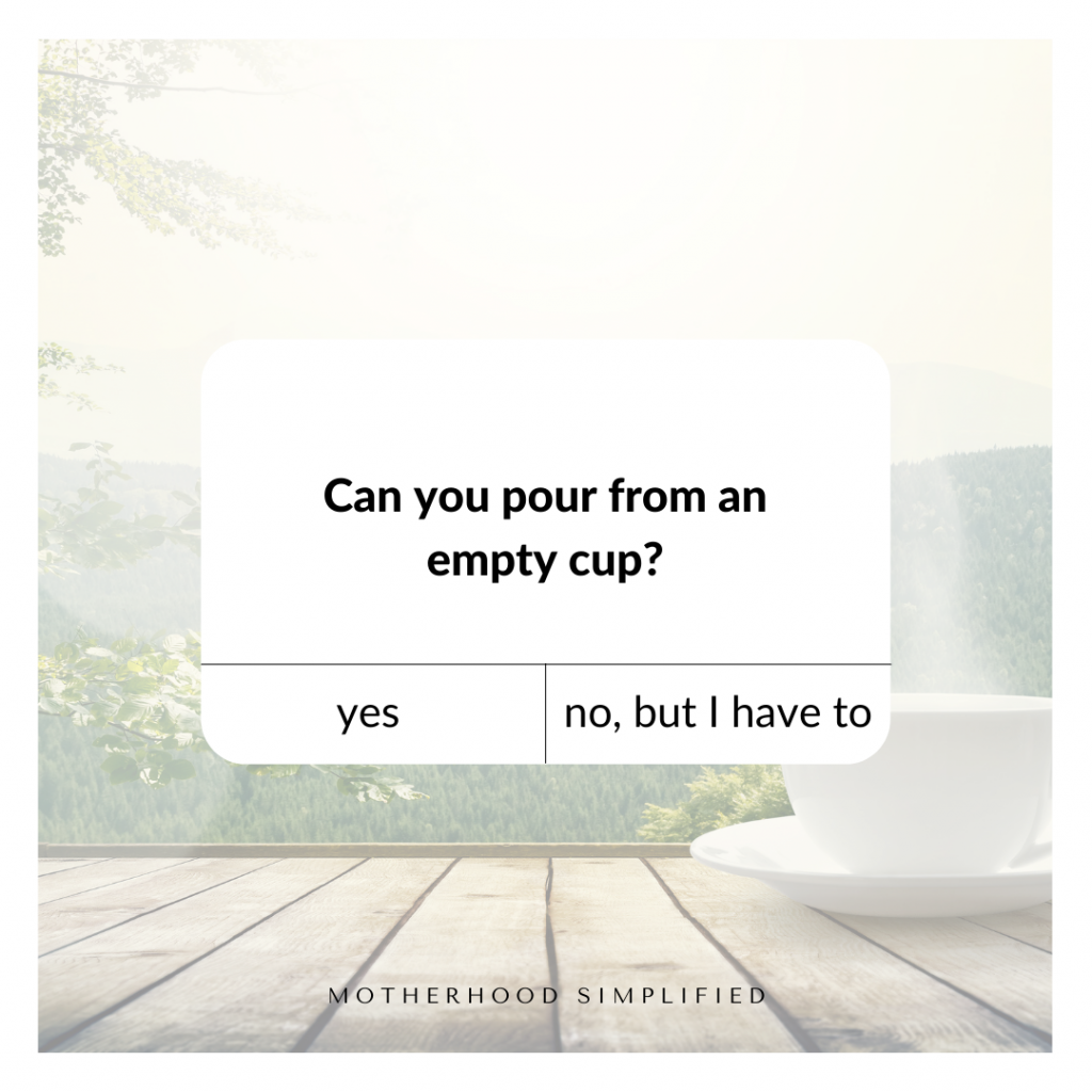 A photo with a cup of coffee in the background with an overlayed text box that says: can you pour from an empty cup? And two faux buttons. The one on the left says yes, the one on the right says no, but I have to.